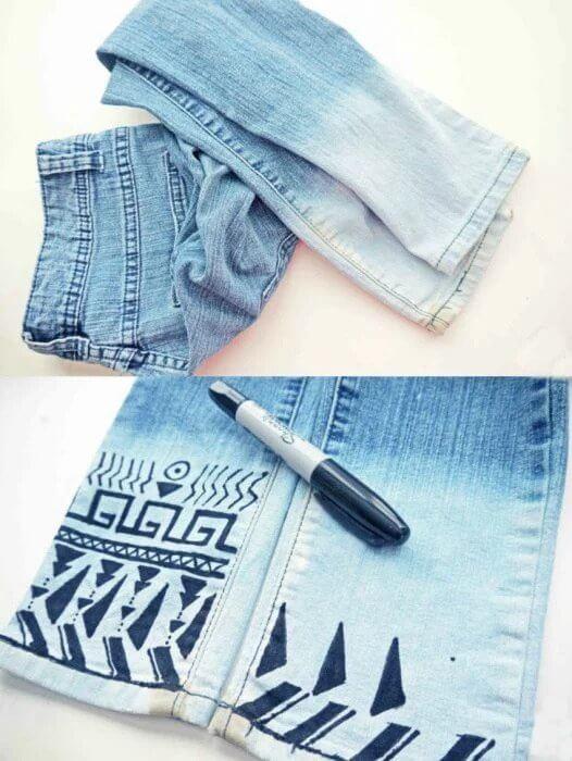 sharpie down tribal trim jeans