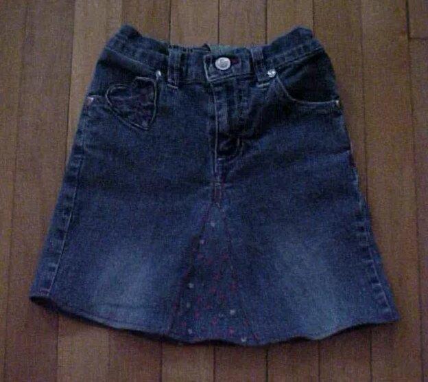 denim shorts into skirt