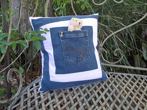 pillow out of your old jeans