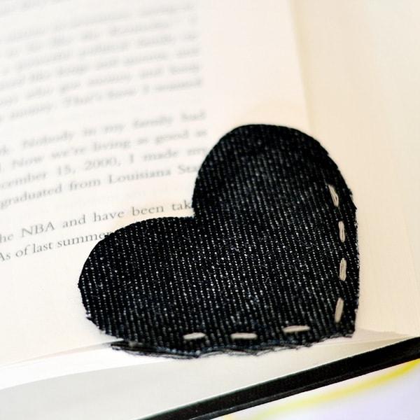 Denim Heart Bookmark