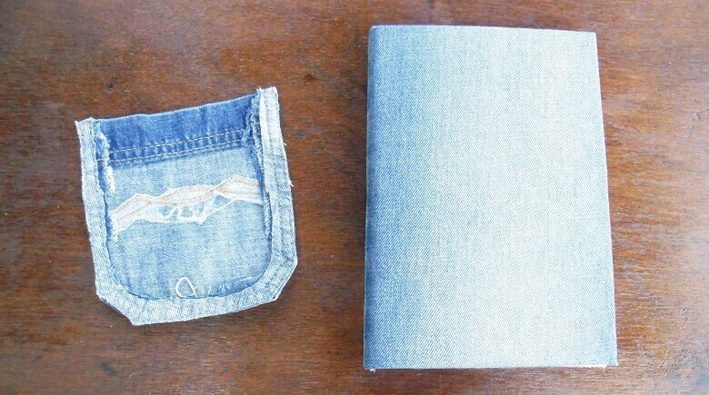 Glue the jean pocket to the front