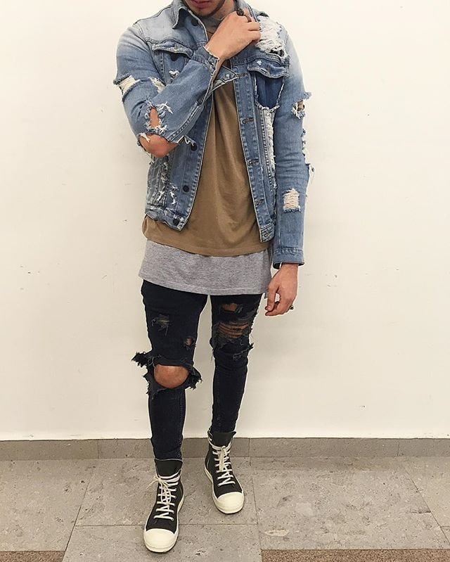 Ripped Denim Jackets for Men